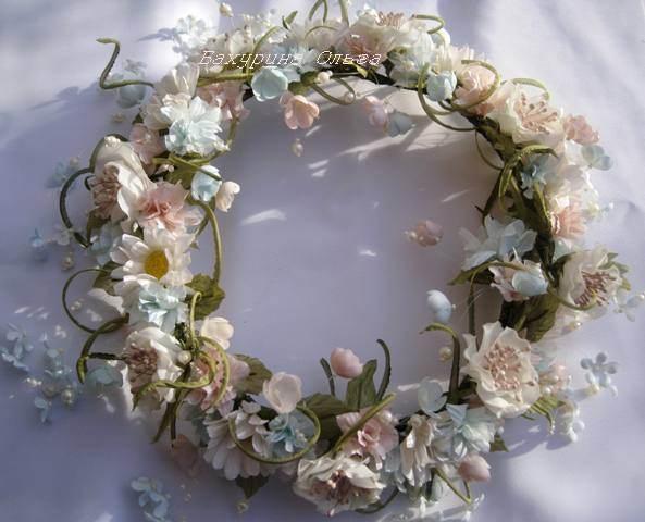 венок, полевые цветы, цветы из ткани, цветы из шелка, цветы ручной работы, обучение цветоделию, ромашки, необычный подарок