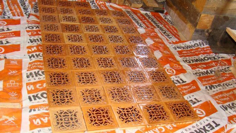 камино-печь, коричневый, процесс работы над печью