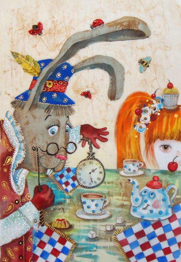 алиса в стране чудес, мартовский заяц, сказка, картина, батик, панно