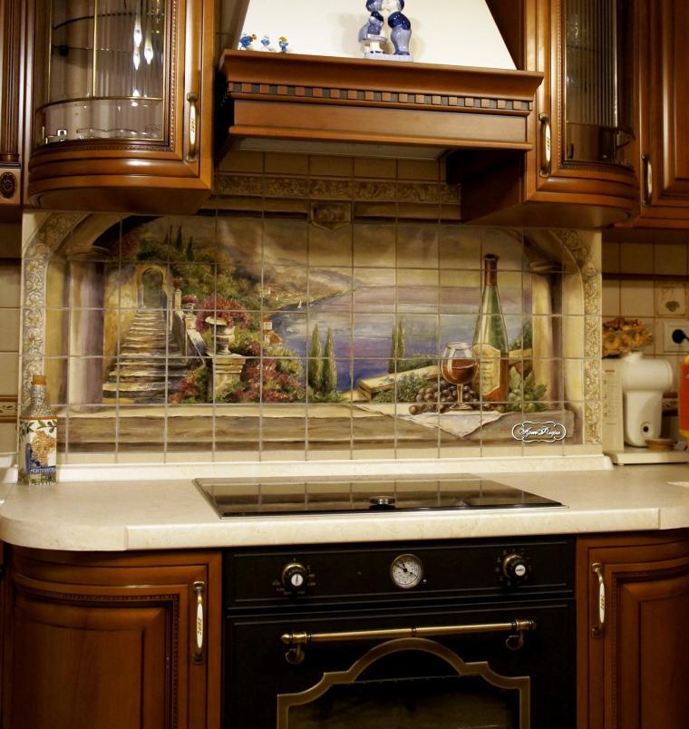 фартук для кухни, плитка на стену, роспись на плитке, надглазурная роспись, даминова флера