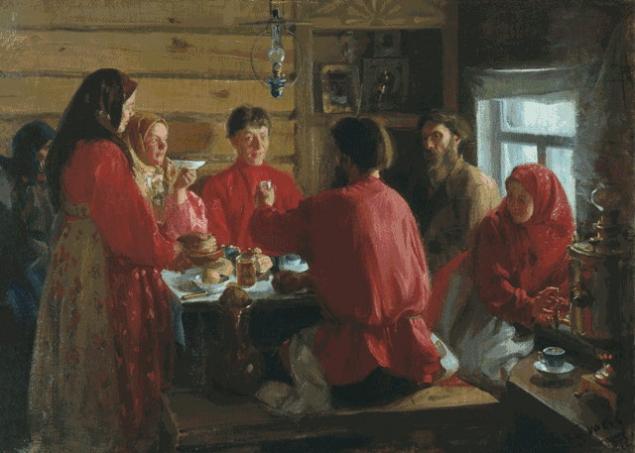 Картинки по запросу семья за столом в избе