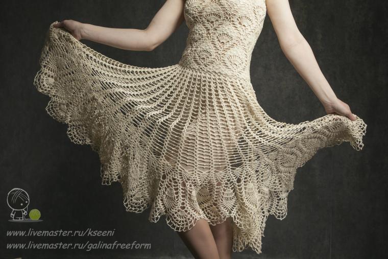 вязание крючком, нарядное платье