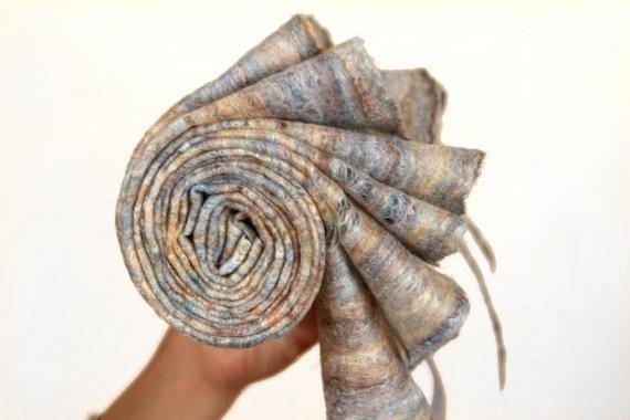 мокрое валяние, шарф, кобвеб, шарф из шерсти и шелка, ажурный шарф