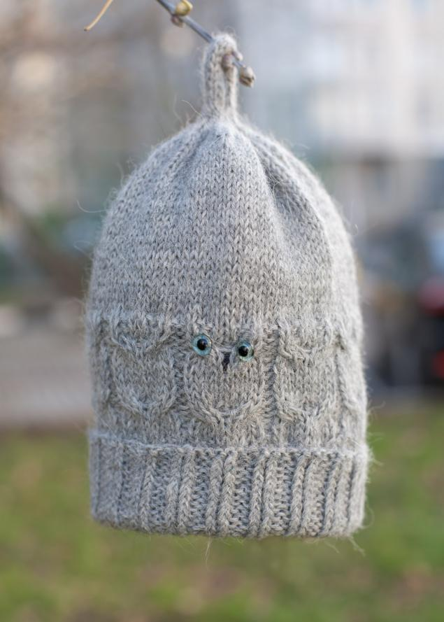 вязаная шапка, сова, модная шапка, прикольная шапка