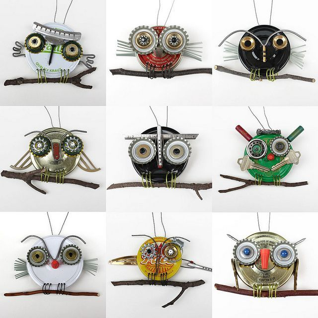 upcycled owls, kid-made, via Flickr.