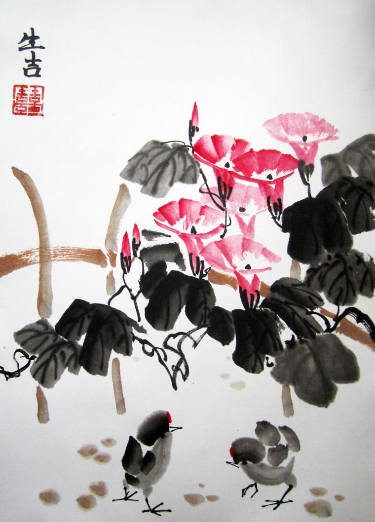 арт-корпорация, цветы и птицы, обучение живописи