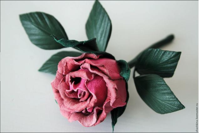 Роза цветы из кожи своими руками