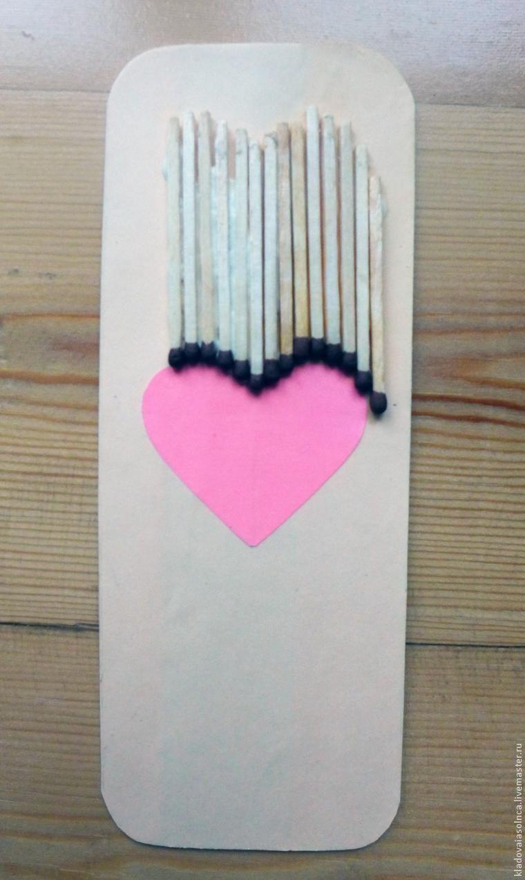сердце из спичек, для детского творчества, день влюбленных