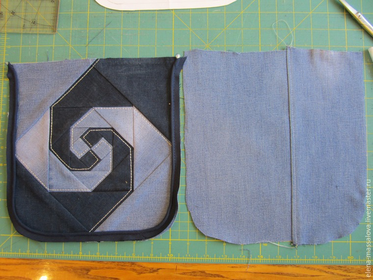 Шьем джинсовую сумку с клапаном, декорированным лоскутным блоком