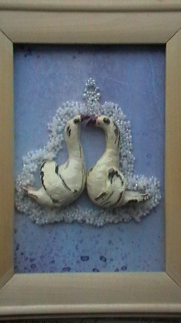 картина, солёное тесто, бисероплетение, изделие, картина с птицами