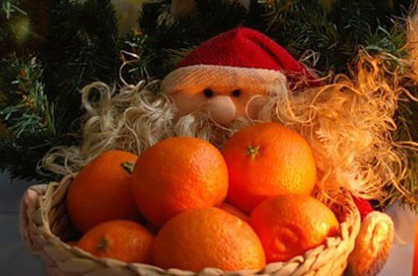 Новогодние открытки мандарины