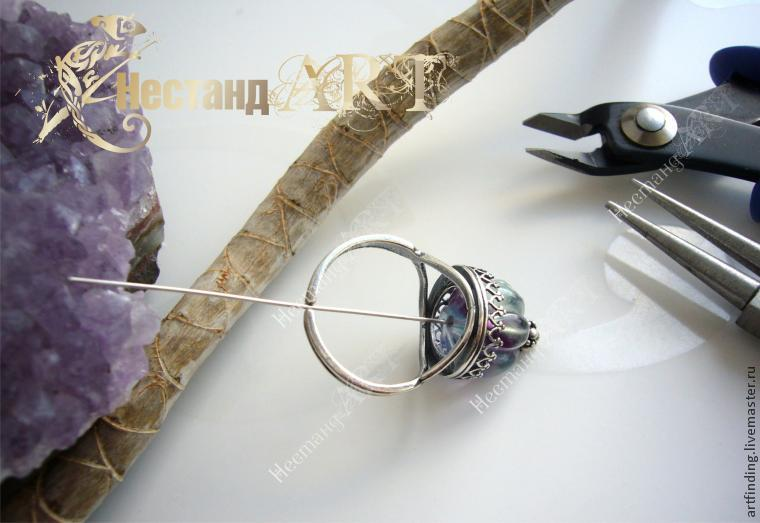 нестандарт, серебряное кольцо, бусины