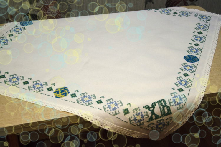салфетка, вышивка крестиком