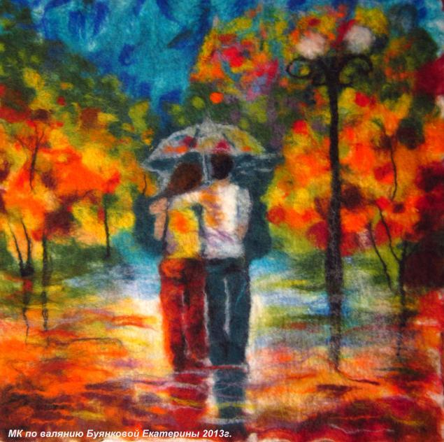 картины из шерсти, войлочные картины, шерстяная акварель, пионы, пара под зонтом