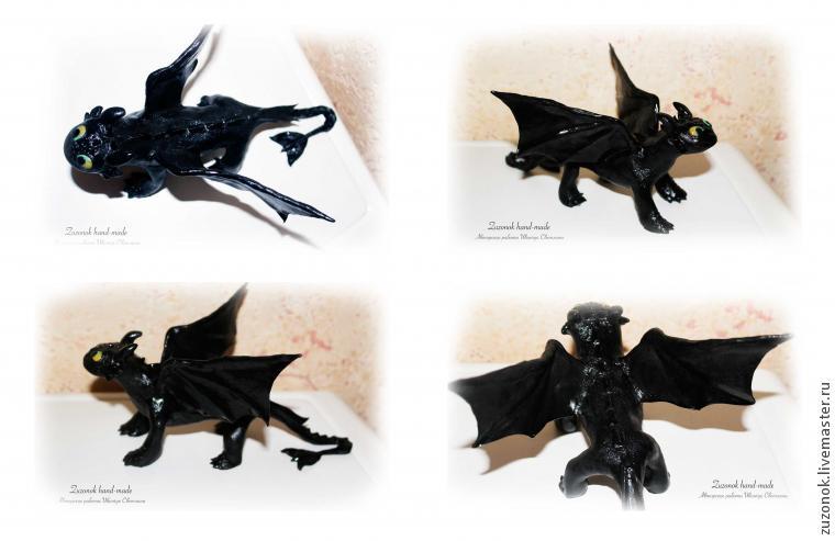 дракон, беззубик, полимерная глина дракон, мк статуэтка, как приручить дракона, подробный мк дракон