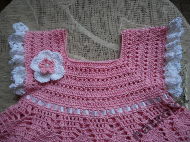 платье для девочки, красивое платье, вязаное платье крючком, платье для малышки, платье крючком, розовое детское платье
