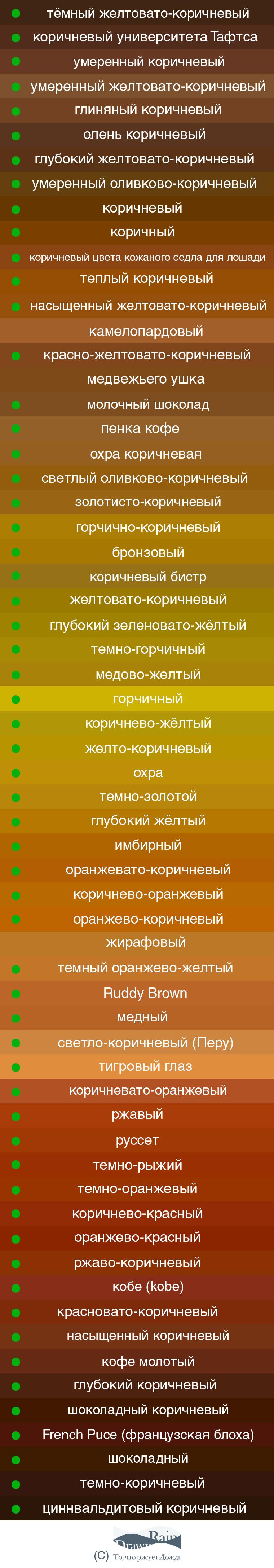 учимся различать оттенки, рыжий, сиена