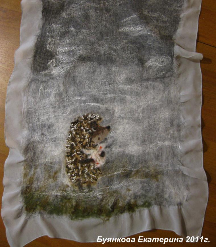 шарф на шелке, нунофелтинг, шерстяная акварель