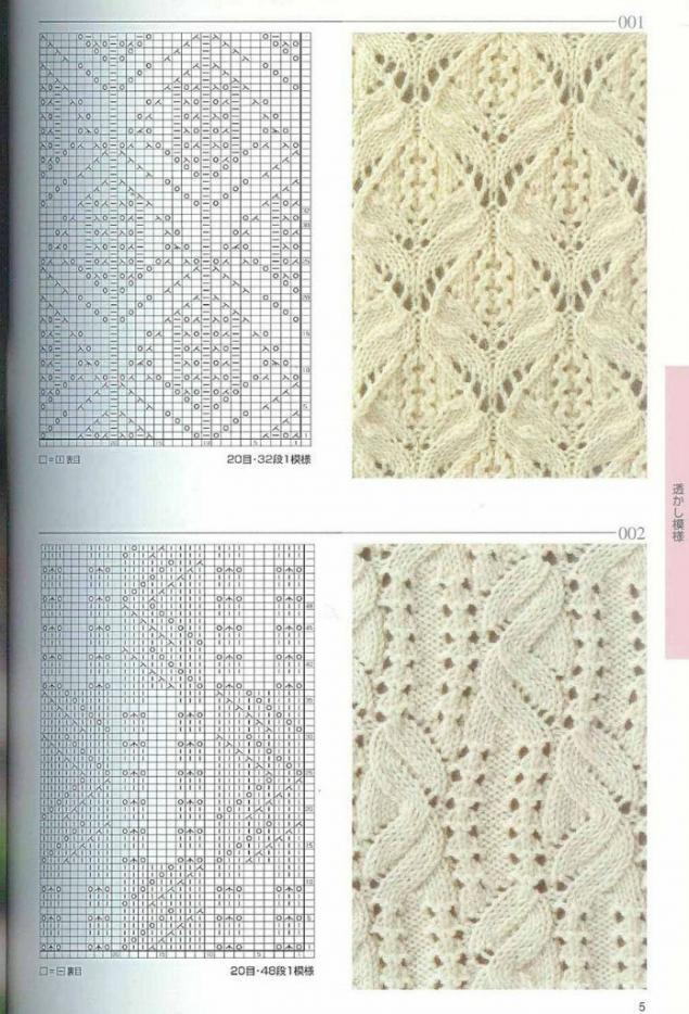 Ажурные узоры японские с описанием спицы