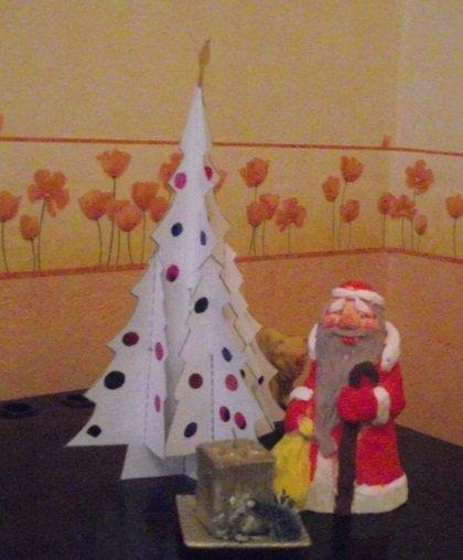 новогодний декор, бумажная елка