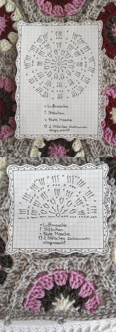 Crochet Hexagon - Chart  4U // hf