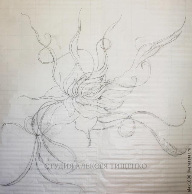 барельеф, лепной цветок