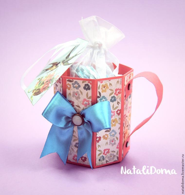 открытка, подарок, скрапбукинг, кружка, кружка из бумаги