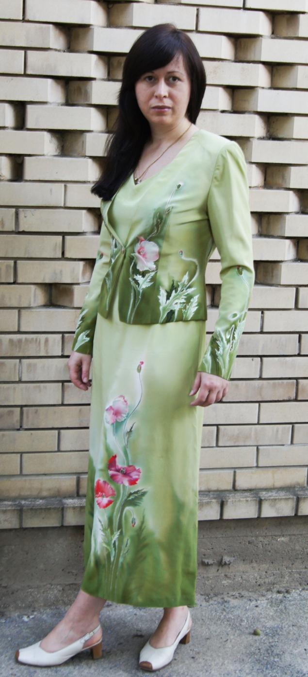 платье, жакет с росписью, авторский батик, сарафан
