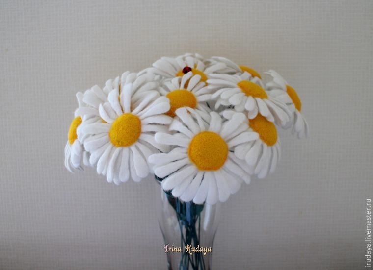 валяние, полевые цветы