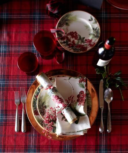 Botanical Berry Place Setting, copper charger, tartan tablecloth
