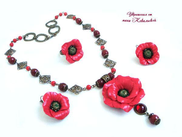 цветы, цветы ручной работы, цветы из полимерной глины, украшения с цветами, колье с цветами, колье маки, кольцо маки, браслет маки