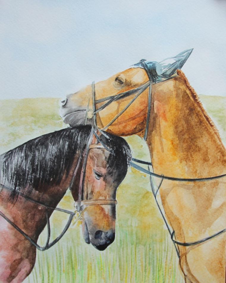 картина на заказ, живопись акварелью, лошади