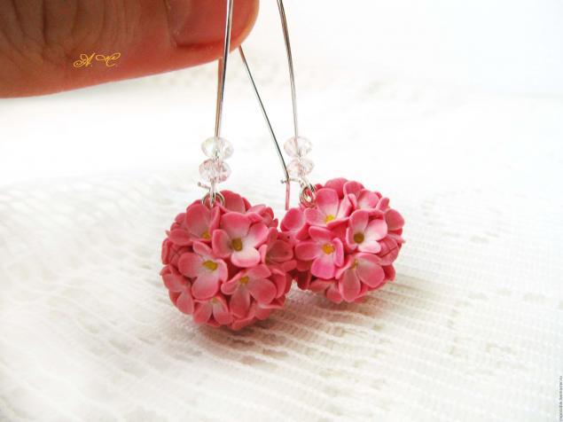 Серьги с цветочками из полимерной глины.