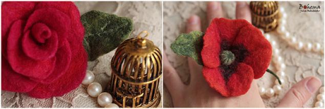 мастер-класс, сухое валяние, войлоковаляние, цветы, кольцо, украшения с цветами