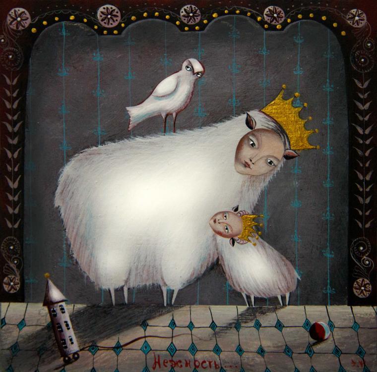 новый год, новый год 2015, овечка, винтаж, королева, сувенир, картина