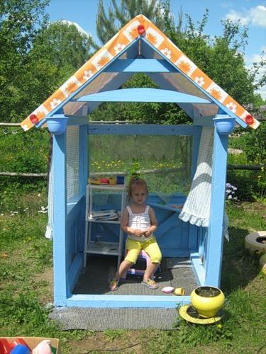 Уличный детский домик своими руками фото
