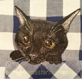 Вышивка на рубашке котиков