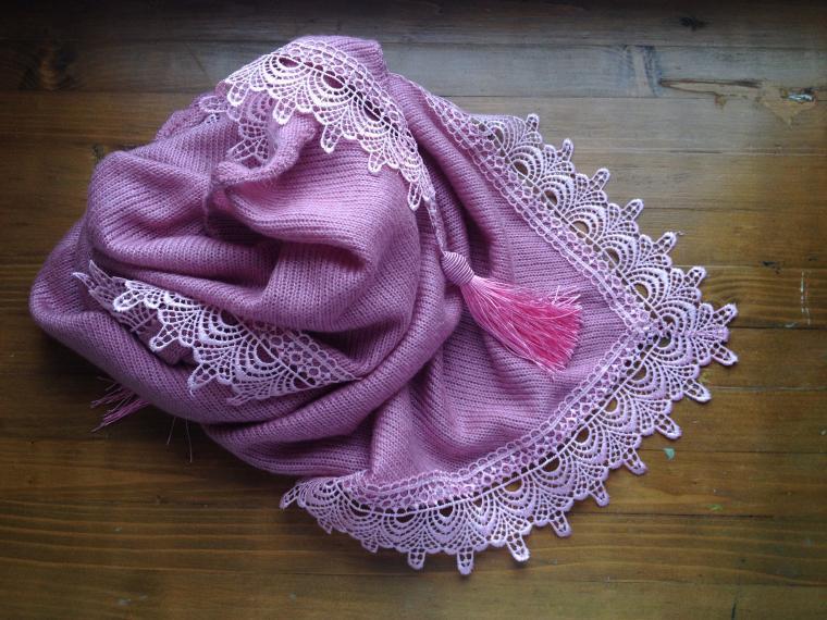 шарф, весна, кисточки, розовый, нежный