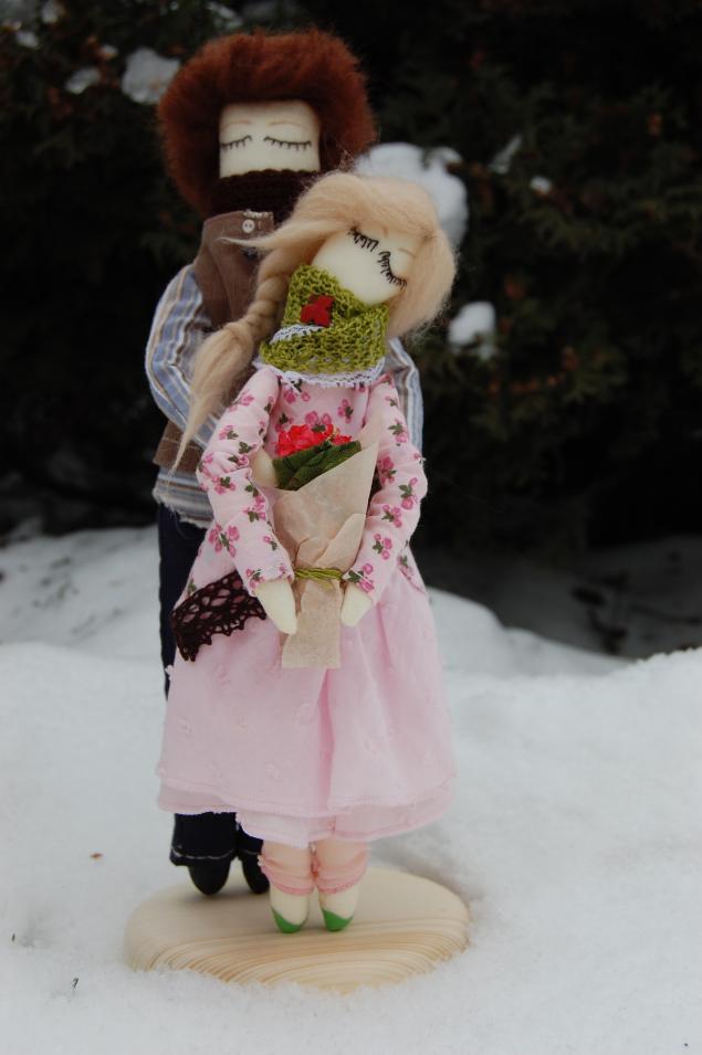 кукла ручной работы, влюбленная пара