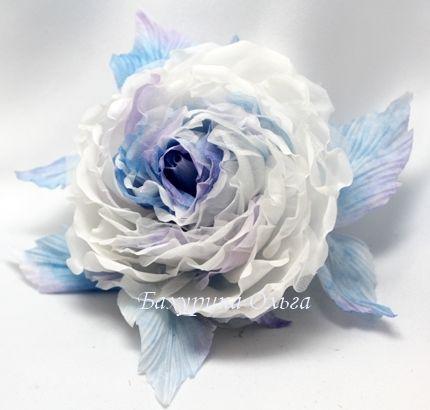 броши, цветы из шелка, роза