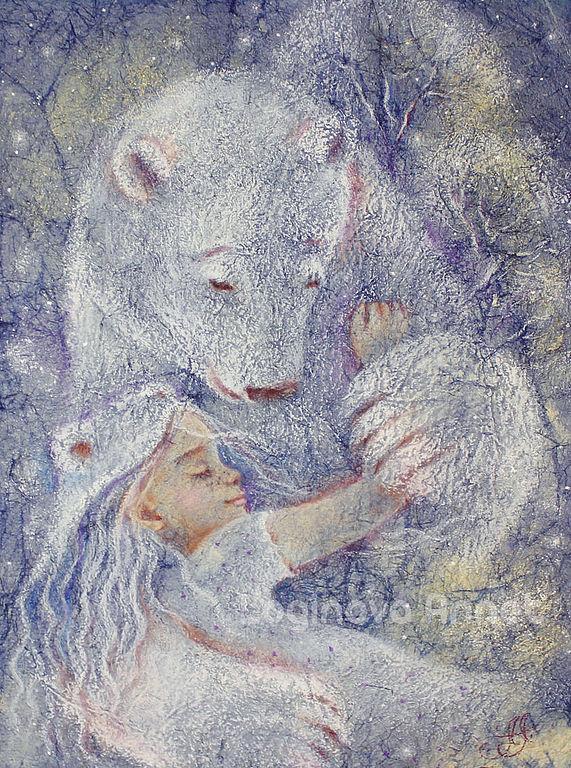 белый медведь, рождество, пастель, пастельная картина