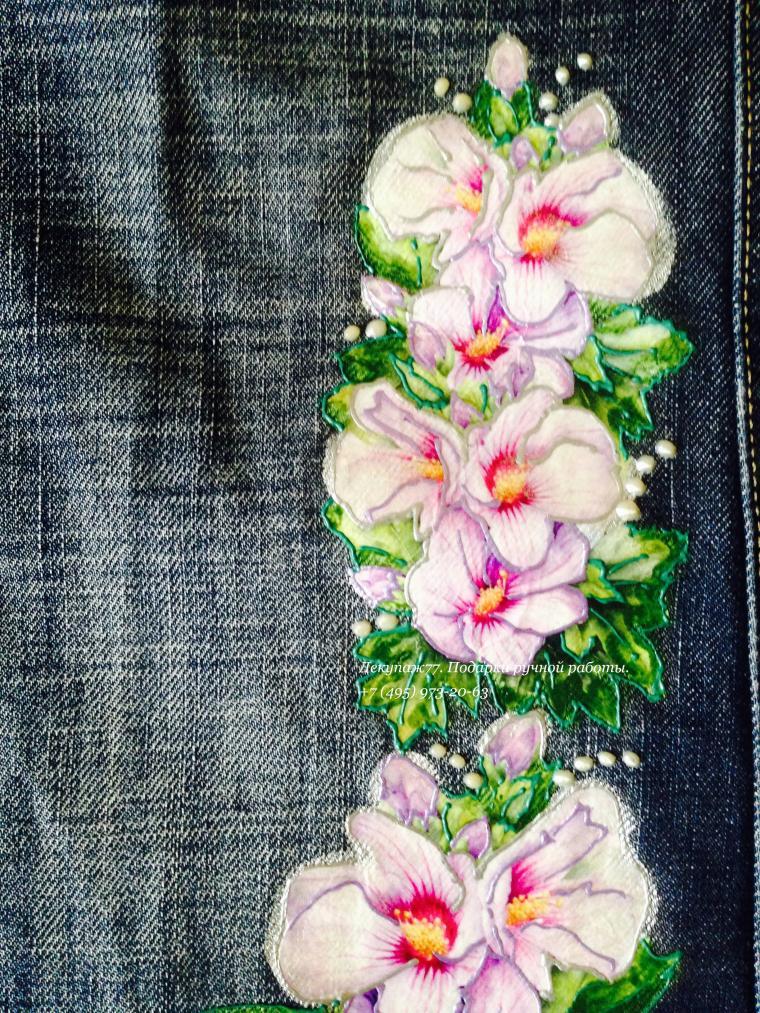 декупаж на ткани, нанесение изображения, джинсы декупаж, джинсовая одежда
