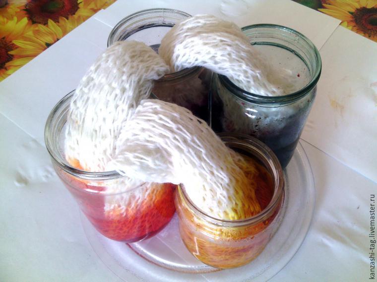 Красим старый шарф с помощью красителей для яиц, фото № 6