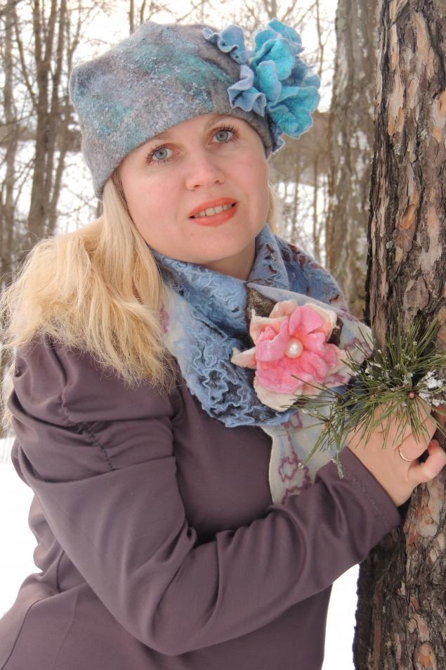 конкурс коллекций, шерстяной шарф, подарок  к 8 марта, брошь валяная