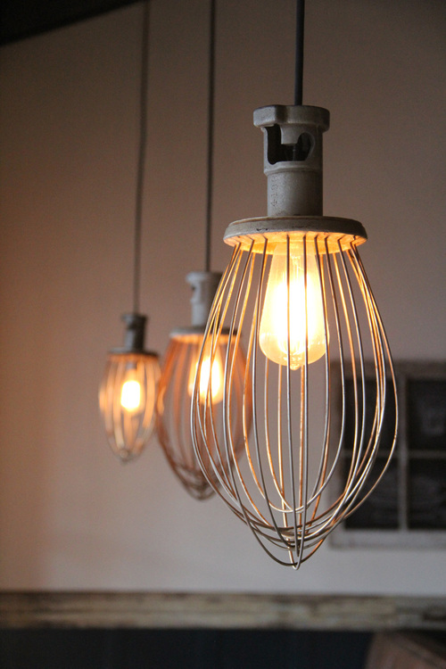 These lights were once industrial whisks that I simply wired to hold a light socket.
