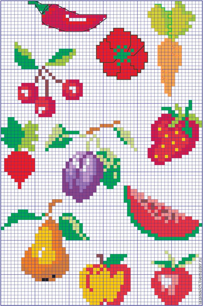 Маленькие вышивки фруктов