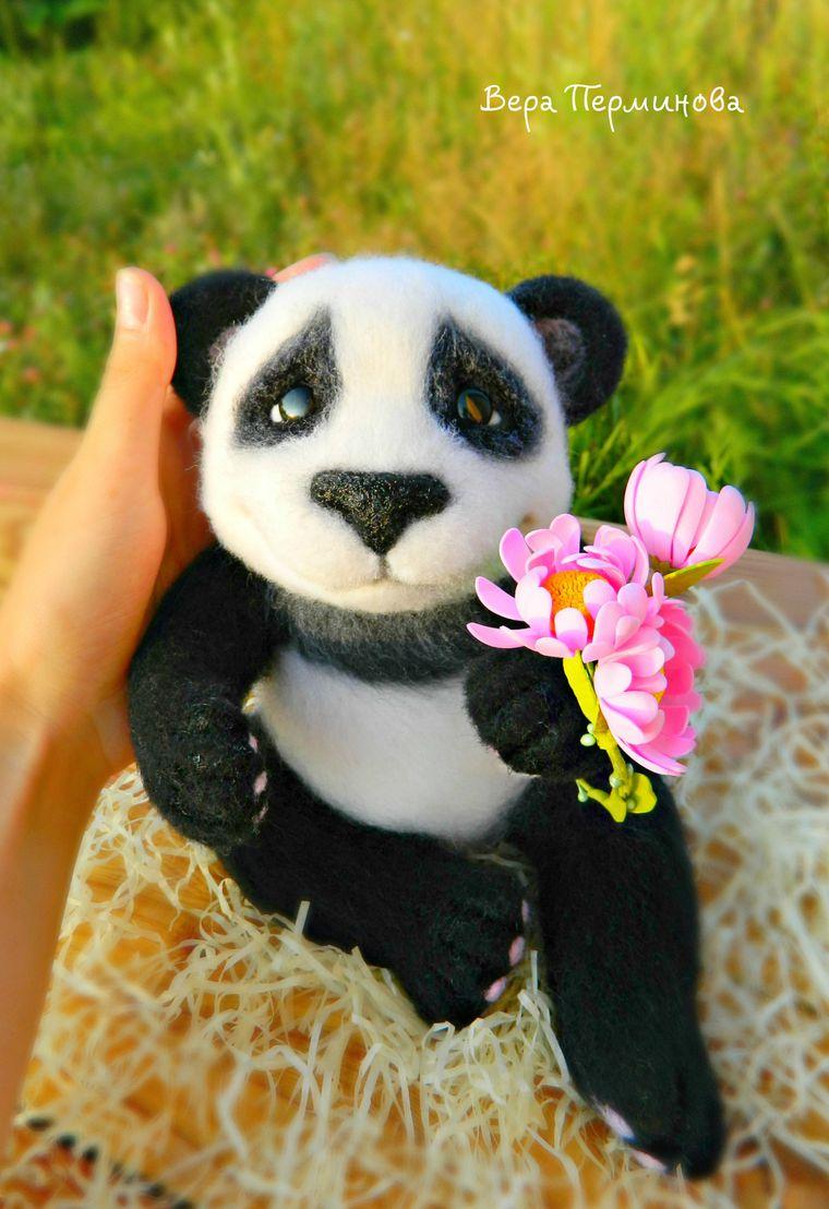 сухое валяние handmade, валяние, панда, подарок