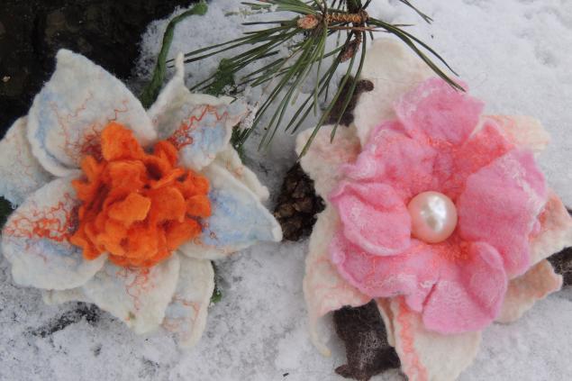 акция, шарф, валяный шарф, шарфик шерстяной, брошь-цветок