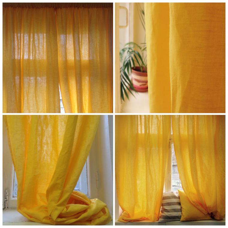 льняные шторы, шторы изо льна, желтые лен, уютный дом
