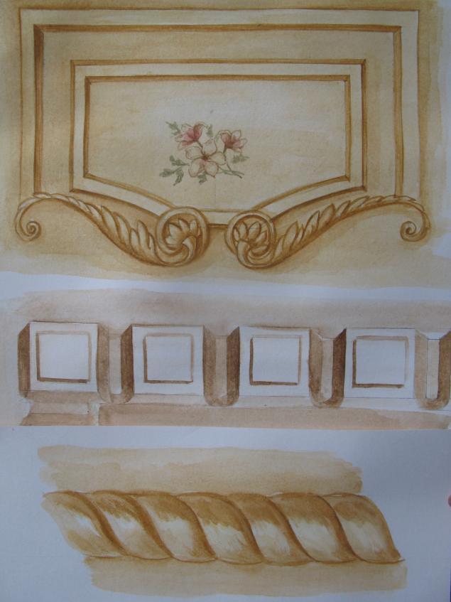 роспись мебели, мастер-класс по росписи, орнамент
